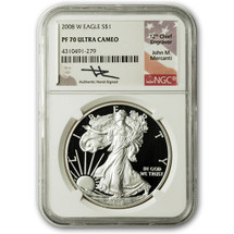 2008 W Proof ASE PF70 NGC Ultra Cameo Flag Mercanti