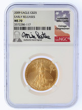 2009 $25 Liberty Gold Eagle MS70 NGC Early Releases Mike Castle
