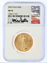 2005 $25 Liberty Gold Eagle MS70 NGC Mike Castle