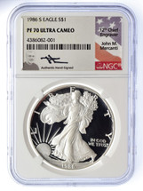 1986 S Proof Silver Eagle PF 70 NGC Ultra Cameo Mercanti Signed - TINY POPULATION!