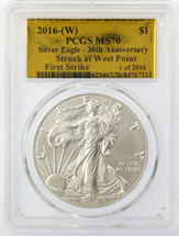 2016-(W) ASE MS70 PCGS 30th Anniv Struck at West Point First Strike 1 of 2016 Gold Foil