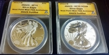 2013-W Silver Eagle Set SP 70 / RP 70 ANACS West Point Mint 75th Anniversary