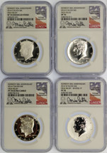 2014 Silver 50C 4-Coin Set SP/Enh. SP/PF/ Rev. PF70 NGC High Relief Kennedy 50th Anniv Mike Castle