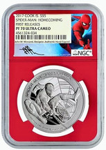 2017 $5 Cook Island Silver Marvel Spider-Man Homecoming PF70 NGC First Releases Mercanti label