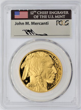 2014-W $50 Proof Gold Buffalo PR70 PCGS First Strike Mercanti