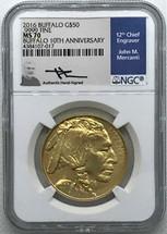 2016 $50 Gold Buffalo MS70 NGC 10th Anniv Mercanti