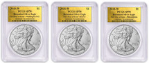 2018-W Burnished Silver Eagle SP70 PCGS FDOI 3-Coin City Set Gold Foil *Pop 50*
