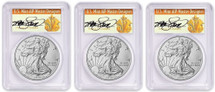 2018-W Burnished Silver Eagle SP70 PCGS FDOI 3-Coin City Set Thomas Cleveland Art Deco *Pop 70*