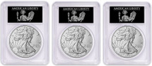 2018-W Burnished Silver Eagle SP70 PCGS FDOI 3-Coin City Set Liberty label *Pop 40*