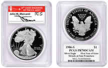 1986-S Proof Silver Eagle PR70 PCGS Struck at San Francisco 1st Yr of Issue Mercanti Red Bridge label