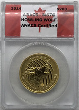 2014 $200 Gold Canada Howling Wolf MS70 ANACS