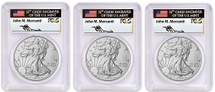 2018-W $1 Silver Eagle SET PCGS SP70 FDOI MERCANTI D.C., PHILI, DEN POP 40!