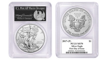2017-(P) Silver Eagle MS70 PCGS First Day of Issue Thomas Cleveland Freedom label