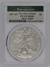 2017-(P) Silver Eagle MS69 PCGS FDOI Struck at Philadelphia