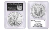 2017-(P) Silver Eagle MS69 PCGS FDOI Thomas Cleveland Freedom label