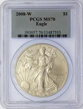 2008-W $1 Silver Eagle MS70 PCGS