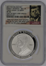 2017 B.V. Island Silver $1 John F. Kennedy Rev, PF70 NGC 100th Anniv of Birth One of First 2,000 Struck