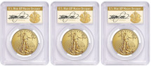 2018-W $50 Burnished Gold Eagle Location Set PCGS SP70 FDOI Cleveland Art Deco *Pop 5*