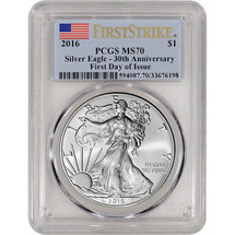 2016 Silver Eagle MS 70 PCGS 30th Anniversary First Strike First Day of Issue