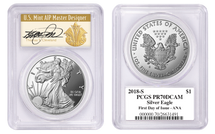 2018-S $1 Proof Silver Eagle PR70 PCGS FDOI - ANA SHOW Cleveland Art Deco *POP 150*