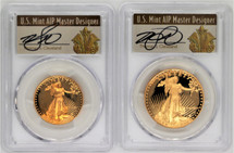 1987 Proof Gold Eagle 2-coin set $25/$50 PR70 PCGS Thomas Cleveland Art Deco