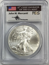 2015 Silver Eagle MS 70 PCGS First Strike Mercanti Signed