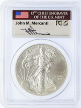 2014 Silver Eagle MS 70 PCGS Mercanti Signed