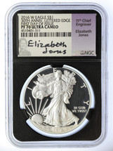 2016 W Silver Eagle PF 70 Ultra Cameo NGC 30th Anniversary Edge Lettered First Day of Issue Elizabeth Jones Signed
