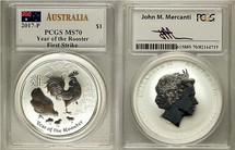 2017 $1  1 oz Australia Silver Year of the Rooster MS 70 PCGS First Strike Mercanti Signed