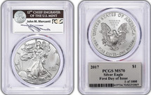 2017 Silver Eagle Mercanti Signed First Day of Issue 1 of 1000 FDOI