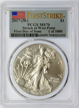 2017-(W) Silver Eagle MS70 PCGS FDOI First Strike Struck at West Point 1 of 1000