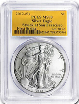 2012-(S) Gold Foil Silver Eagle MS70 PCGS First Strike 1 of 2012  *Population of just 239!*