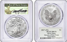 2017-(W) $1 Silver Eagle MS70 PCGS Signed by Thomas Cleveland Green Label