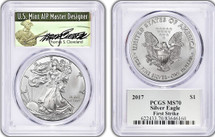 2017 $1 Silver Eagle MS70 PCGS Signed by Thomas Cleveland Green Label