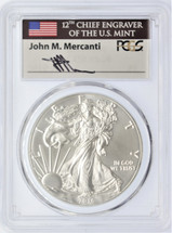 2016 W Burnished Silver Eagle PCGS SP70 Mercanti FIRST STRIKE Lettered Edge