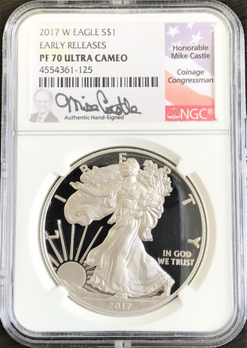 2017-w proof silver eagle pf70 ngc er mike castle *population just