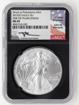 2015 (P) Silver Eagle Mercanti NGC MS69 Struck at Philadelphia *Population just 257!*