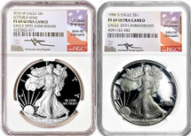 1986 & 2016 Proof Silver Eagle 30th ANN Set Signed by MERCANTI