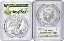 2017-W Burnished Silver Eagle SP70 PCGS 225th Anniv US Mint FDOI Philadelphia Mint T.Cleveland Signed