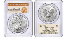 2017 (S) Silver Eagle PCGS MS70 THOMAS CLEVELAND San Francisco *Pop 134*