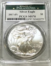 2017-(P) ASE MS70 PCGS Struck at Philadelphia Green label