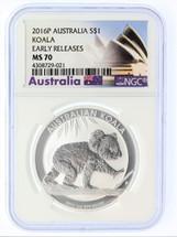 2016 P Australia Silver Koala MS70 NGC Early Releases