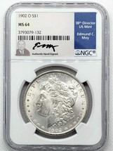 1902 O Morgan Dollar MS64 NGC Ed Moy signed label New Orleans Mint