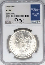 1899 O Morgan Dollar MS64 NGC Ed Moy signed label New Orleans Mint