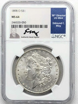 1898 O Morgan Dollar MS64 NGC Ed Moy signed label New Orleans Mint