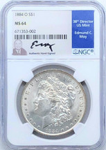 1884 O Morgan Dollar MS64 NGC Ed Moy signed New Orleans Mint
