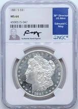 1881 S Morgan Dollar MS64 Ed Moy signed San Fran Mint
