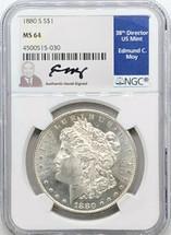 1880 S Morgan Dollar MS64 NGC Ed Moy signed San Fran Mint