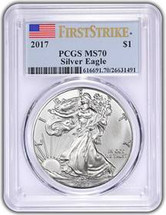 2017 ASE MS70 PCGS First Strike Flag label