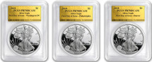 2018-W Proof Silver Eagle FDOI PR70 Gold Foil 3-Coin City Set *Population 50*